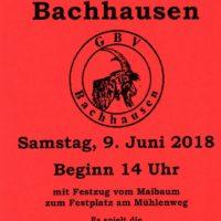 Es ist wieder soweit: das Goaßbockfest Bachhausen 2018