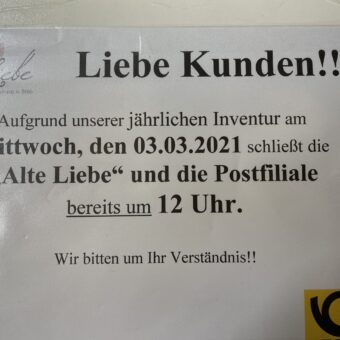 Postfiliale Berg/Alte Liebe am Mittwoch, 3.3., ab 12 Uhr geschlossen