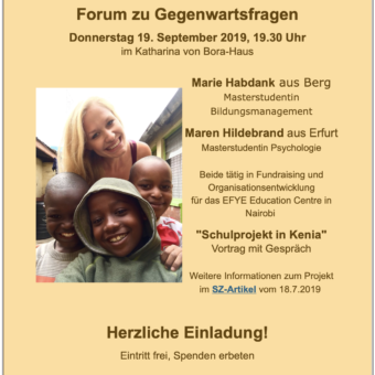 "Marie Habdank zum ""Schulprojekt in Kenia"""