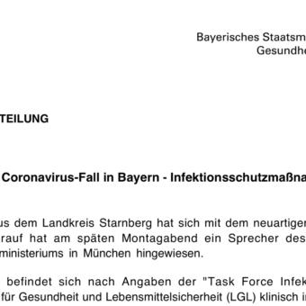 Herienbrechende Nachricht: Corona-Virus im Landkreis Starnberg