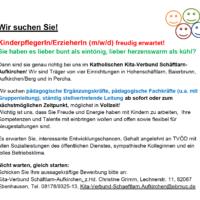 Dringend: Verstärkung für den Katholischen Kindergarten in Aufkirchen gesucht!