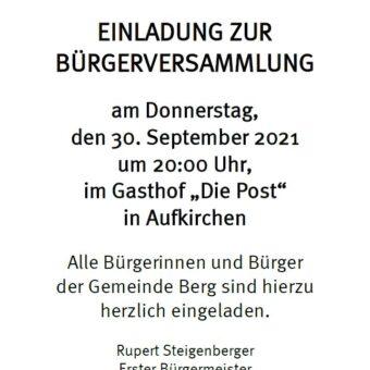 Save the date: Bürgerversammlung in Berg