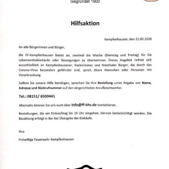 Die FFW Kempfenhausen bietet Hilfe an
